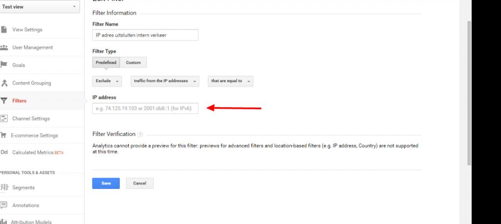 Google Analytics Filter ip uitsluiten