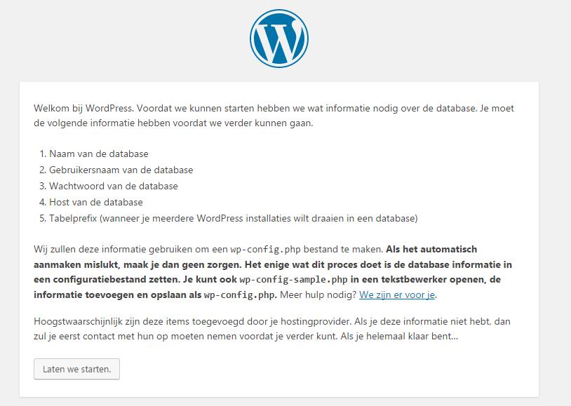 WordPress lokaal installeren met xampp startscherm