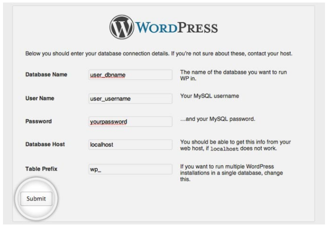 Wordpress installeren database gegevens invullen