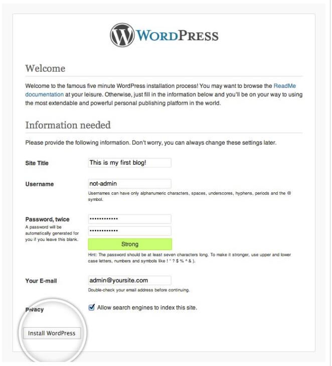 wordpress isntalleren webste titel en wachtwoord