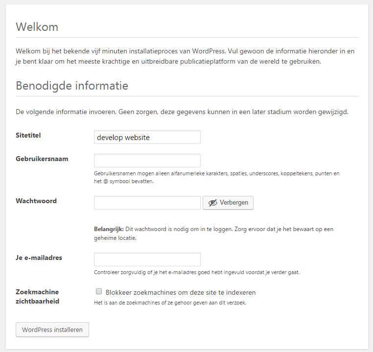 wordpress lokaal installeren wachtwoord opgeven