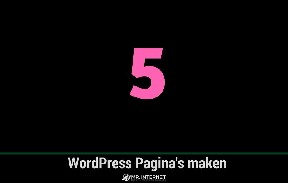 WordPress Pagina maken