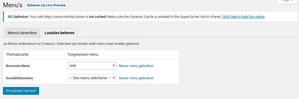 Wordpress menu locatie beheren