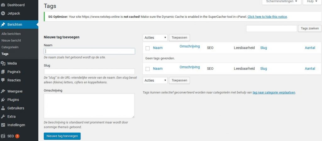 Wordpress tags toevoegen via dashboard