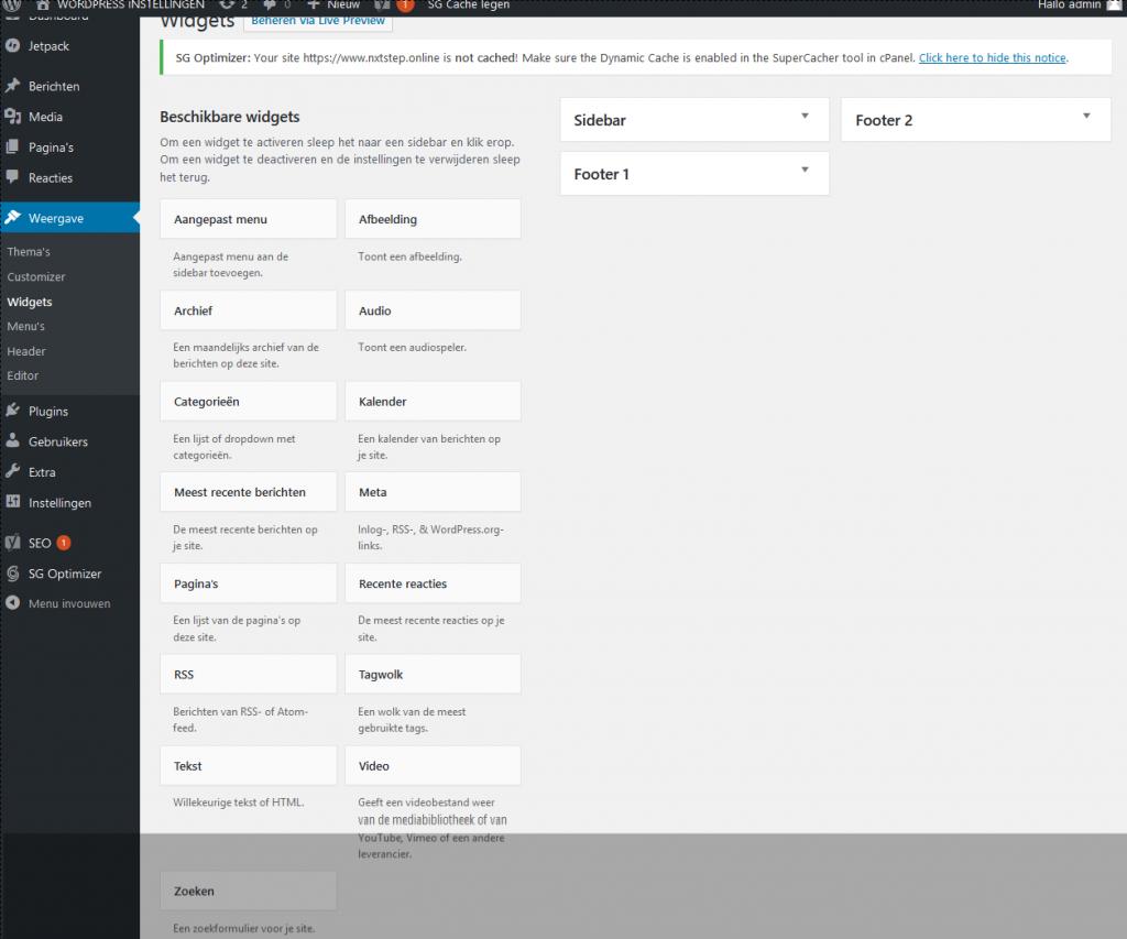 Wordpress widgets overzicht