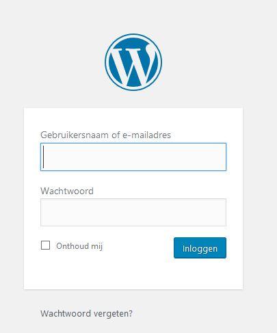 inloggen in WordPress inlogscherm