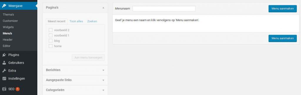 wordpress handleiding menu aanmaken